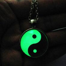 Glowing Handmade Tai Ji Glass Tile Yin Yang Chinese Oriental Asian Necklace Glow in the dark Pendant