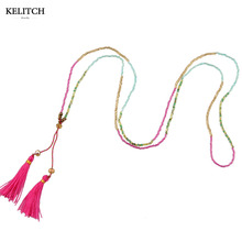 KELITCH Jewelry 1Pcs Pink Tassel Long Beaded Bib Maxi Multicolor Seed Beads Crystal Bib Bright Tiny Women Necklace Drop Shipping(China)