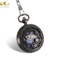 Lancardo Men/Father Watch Steampunk Classic Elegant Hand Wind Vintage Unique Retro Pendant Classic Steel Mechanical Pocket Watch(China)