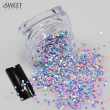 SWEET TREND 1 Bottle Mixed Color Nail Mini Round Glitter Thin Paillette Nail Decoration Stickers Bright Color Bottle Tips LAY04