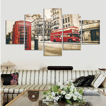 5 Panel Modern city bus telephone booth Canvas art Painting Pictures vintage home decor Canvas Painting for Living Room FA100