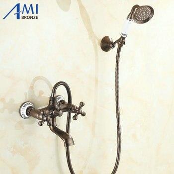 2 Way Wall Mounted Roman Bronze Brass Bath Faucets Bathroom Basin Mixer Tap Ceramic Crane With Hand Shower Head Shower Faucet