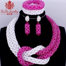 Hot Pink And White Nigerian Beads Necklaces Women African Wedding Jewelry Set Fashion Costume Necklace Earrings Bracelet 2017