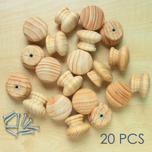 "wooden drawer cabinet knob pull unvarnished pine wood grain round 1.5"" 20 pc"