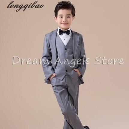 5pcs High quality 2016 new fashion baby boys kids blazers boy suit for weddings prom formal Silvery gray dress wedding boy suits<br><br>Aliexpress