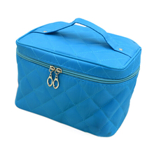 New Zipper Cosmetic Storage Make up Bag Handle Train Case Purse-M blue(China)