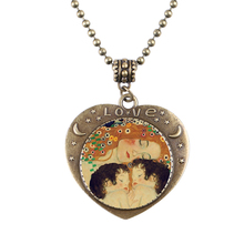 1pcs/lot Gustav Klimt, Mother and Child Heart Necklace Bronze Chain Statement Handmade Necklace For Good Gift
