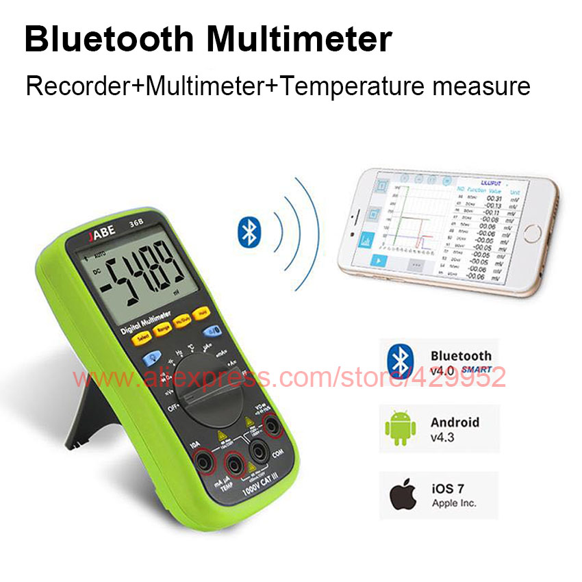 36B Blue tooth Digital Multimeter Ammeter For Test AC/DC Alternating Direct Current OHM Capacitance Diode<br>