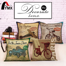 Retro Conveyance Cotton Linen Car Bedroom Sofa Cushions Cover Pillowcase Airplan Bike Images Printed Pillow Cases 2017 New 18''(China)
