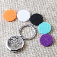 2017 New Tree of Life Perfume Aromatherapy Locket Keychains 316L Stainless Steel Essential Oil Diffuser keychain Wholesale Cheap