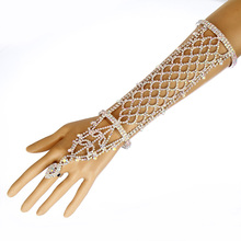 Women Rhinestone Slave Bracelet With Ring Hand Chain Cuff Wedding Bridal Celebrity Trendy Belly Dancer Jewelry(China)