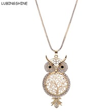 LUBINGSHINE Crystal Sweater Chain colar collier Cute Owl Hollow Out Pendant Necklace Female Tree Of Life Necklaces Jewelry Women