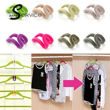 5PCS/Lot Mini Flocking Clothes Hanger Hook Closet Organizer Clothing & Wardrobe Storage Saving Places Hanger Random Colors