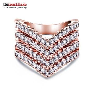LZESHINE Новый Модные Женские Обручальные кольца Ювелирные Изделия Розовое Золото Плиты Обручальное Кольцо для Женщин CZ Камень Мощеные Кольца Обещание CRI0333
