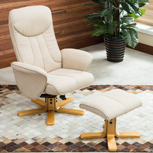 360 Degree Swivel Recliner With Ottoman Modern Ergonomic Reclining Lounge Armchair Linen Fabric Upholstery Natural Wood Base