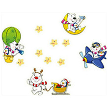 Happy the Pooh luminous stickers anime Winnie Bear fluorescent vinyl wall decals kids bedroom glow in the dark Stars wallpaper(China)