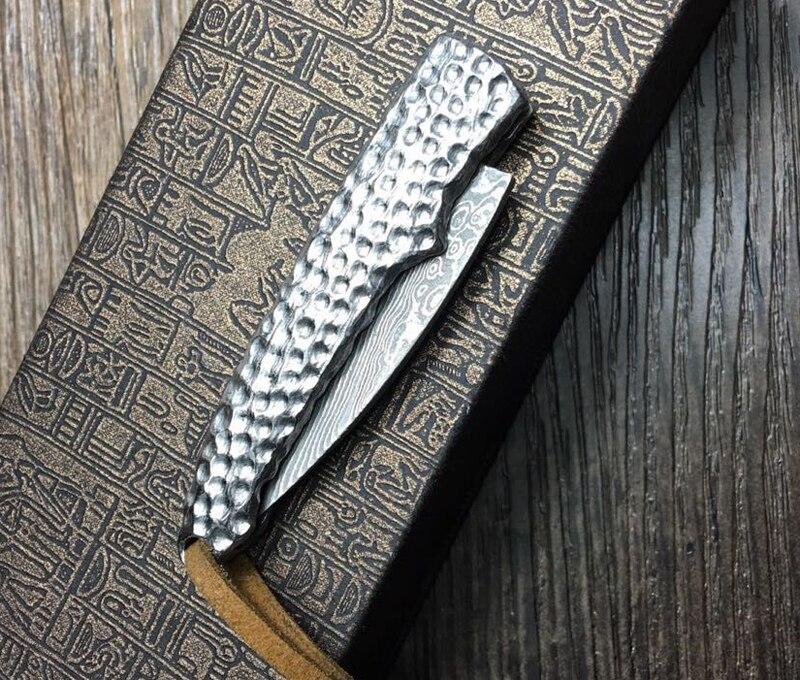 2017 10-46 Damascus Folding Knife Corrugated Steel Pocket Knife Survival Knife Collection<br>