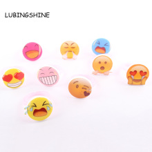 Wholesale 10pcs/lot Expression Smile Face Rings for Children Cute Acrylic Random Styles Round Kids Ring Baby Jewelry R132