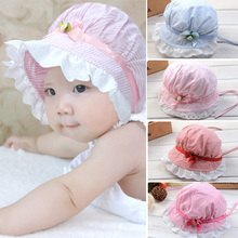 Baby Caps Newborn Photography Props Toddlers Baby Girls Lace Flower Cotton Children's Cap Hats for Baby Girls 3-24 Months Summer