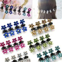 12 Pcs/Set Fashion Women Hairpins Crystal Flower Mini Barrettes Hair Claw Clamp Hair Clip Girls hair accessories 2017 Hot Sale(China)