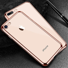 Luxury Ultra thin Plating TPU Silicone Flexible Soft Back Cover Case For Iphone 5 5S SE 6 6S 7 8 Plus Transparent Clear Cases(China)