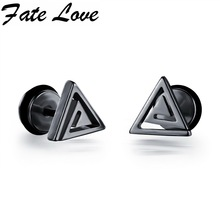 Fate Love Casual Stainless Steel Triangle Design Stud Earrings Black/White/Gold Colors Man Fashion Jewelry Male Earrings FL300