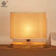 New Modern Table Lamp Wooden Base Fabric Lamp Shade E14 110V 220V Bedroom Desk Light Home Decoration Indoor Lighting Desk Lamps(China)