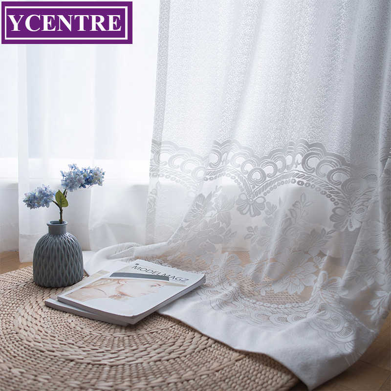 YCENTRE Decorative Semi jacquard Modern Lace Sheer Curtain Tulle Voile Panel Window Curtain for LivingRoom Kitchen Bedroom Door