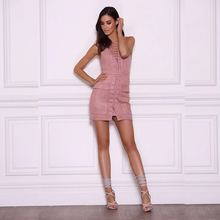 BUY LIFE Summer Sexy lace up sleeveless suede lether women party club short dress hollow out high waist dress Vintage dress(China)