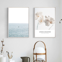 NEW Nordic Modern Sea Landscape Flower Canvas Painting Posters Wall Pop Art Oil Paintings Wall Pictures for Living Room No Frame