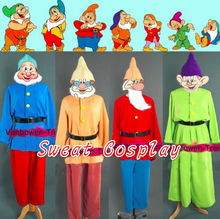 Custom Made Snow White and Seven Dwarfs Costume Uniform Suit Halloween Adult Cosplay Costume Seven Colors Free Beard
