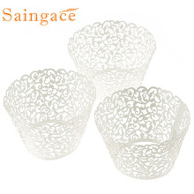 Saingace cup cake paper 100pcs Little Vine Lace Laser Cut Cupcake Wrapper Liner Baking Cup Muffin cake  tool