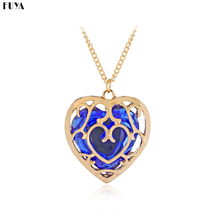 Zelda Legend Games Hollow Love Heart Pendent Necklaces For Women Inlaid Red&Blue Crystal Girls Necklace Fashion Jewelry