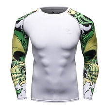 Men Compression Shirts MMA Rashguard Keep Fit Fitness Long Sleeves Base Layer Skin Tight Weight Lifting Elastic T Shirts Homme(China)
