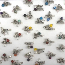 Antique Silver Plated Rings With Grape, Lotus Seedpod, And 3 Beaded Stone Pendants Cute Rings For Girls 50pcs/lot(China)