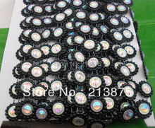 Free shipping 10Yards Black Plastic chain Costume Applique circular AB Resin Crystal Rhinestones Banding Trim Setting heise