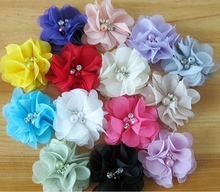 55pcs DIY 6cm hair accessories kids hair bows flowers Vintage Chiffon flower sewing Pearl Rhinestone without clip HT2112(China)