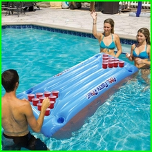 plastic material and folding inflatable beer pong table air mattress raft pool party floating lounge(China)