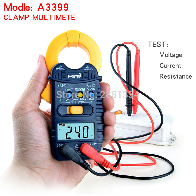 A3399 Digital LCD Clamp Multimeter Meter Current ACDC Voltage Resistance Capacitance Frequency Temperature Tester Detection