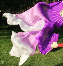 100% Silk 150cm Gradient Color Female Belly Dance Fan Veils Silk Bamboo Fan Performance Prop Pink Purple White Free Shipping