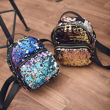 2017 New Arrival Women All-match Bag PU Leather Sequins Backpack Girls Small Travel Princess Bling Backpacks(China)
