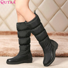 QUTTA 2017 Fashion White Elegant 2016 PU+Down Women Shoes Wedge Low Heel Mid Calf Snow Boots Women Motorcycle Boots Size 34-43