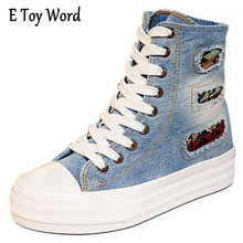 E TOY WORD Denim High Help Platform Female Canvas Shoes Higher Fashion Women Sponge Bottom han edition tide student Casual Shoes