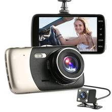 "2017 New 4"" Mini Car DVR Dual Lens Video Recorder Parking Car Camera Full HD 1080P WDR Dash Cam Night Vision Auto Black Box"