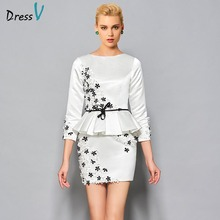 Dressv cocktail dress white above knee flowers applique sheath 3/4 length sleeves short formal party dress 2017 cocktail dresses(China)