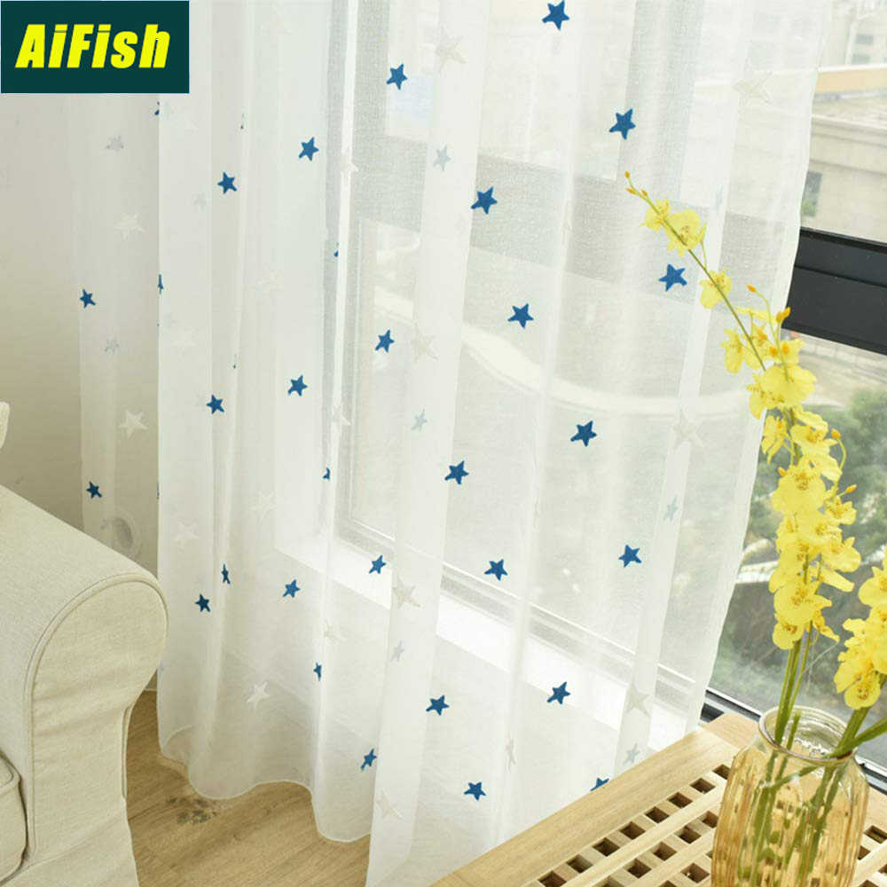 Embroidery Blue Stars Sheer Curtains for Living Room Kids Room Curtains White Tulle Curtain Drapery Panels for Kitchen TM0022