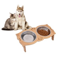 Dual Sections Solid Wood Rectangular Table Pet Double Bowl Raised Stand Stainless Steel Dual Bowls dog&cat Feeder(China)