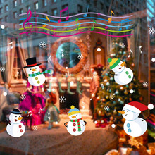 Christmas Snowman Wall Sticker Removable Music Snow Ball Home Vinyl Window Stickers Decal Store Decor feliz navidad(China)