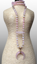 YA2437 Rose Pink Quartz Moon Pendant Moonstone Pink Quartz Beads Knot Handmade Necklace 30inch long
