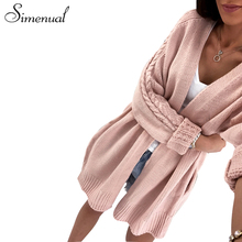 Simenual Autumn winter sweaters cardigans for women 2017 twist knitwear pockets fashion solid slim female long cardigan hot sale(China)